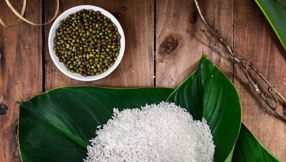 Rijst in blad
