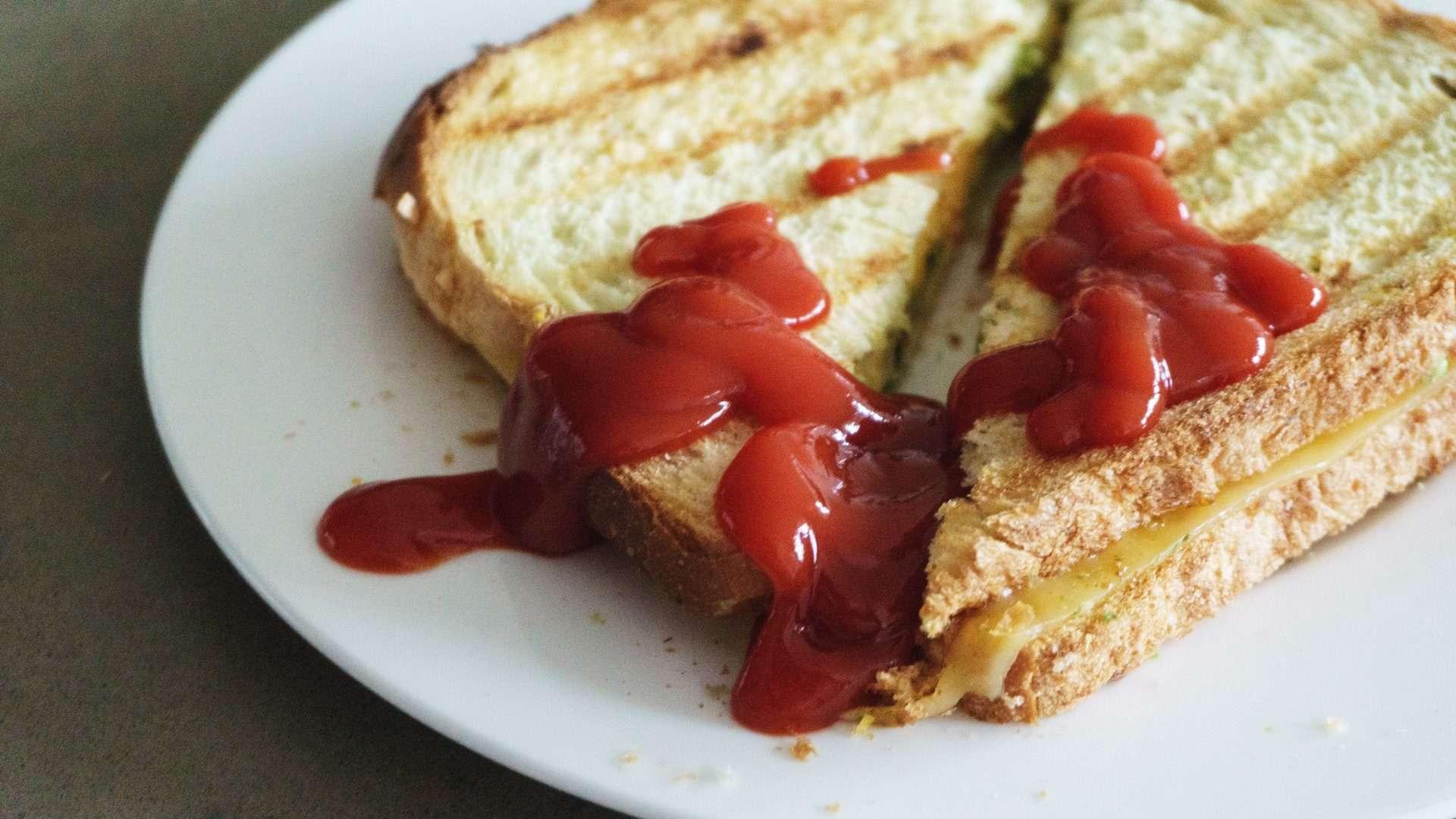 Tostie met ketchup op wit bordje. Bovenaanzicht.